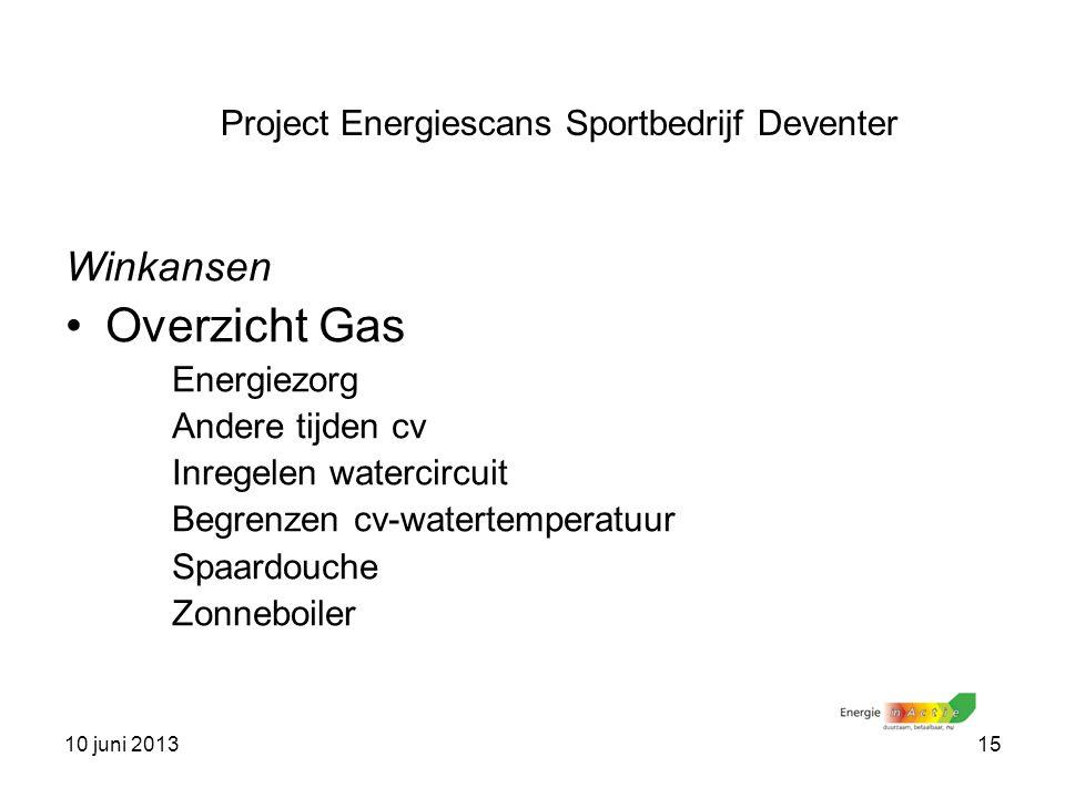 10 juni 201315 Winkansen Overzicht Gas Energiezorg Andere tijden cv Inregelen watercircuit Begrenzen cv-watertemperatuur Spaardouche Zonneboiler Proje