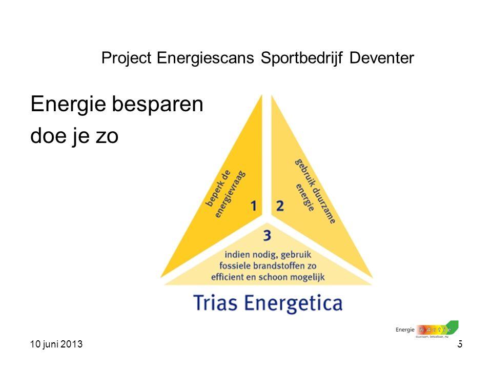 10 juni 20135 Project Energiescans Sportbedrijf Deventer Energie besparen doe je zo