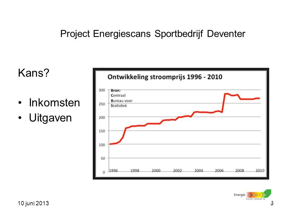 10 juni 20136 Kans? Inkomsten Uitgaven Project Energiescans Sportbedrijf Deventer