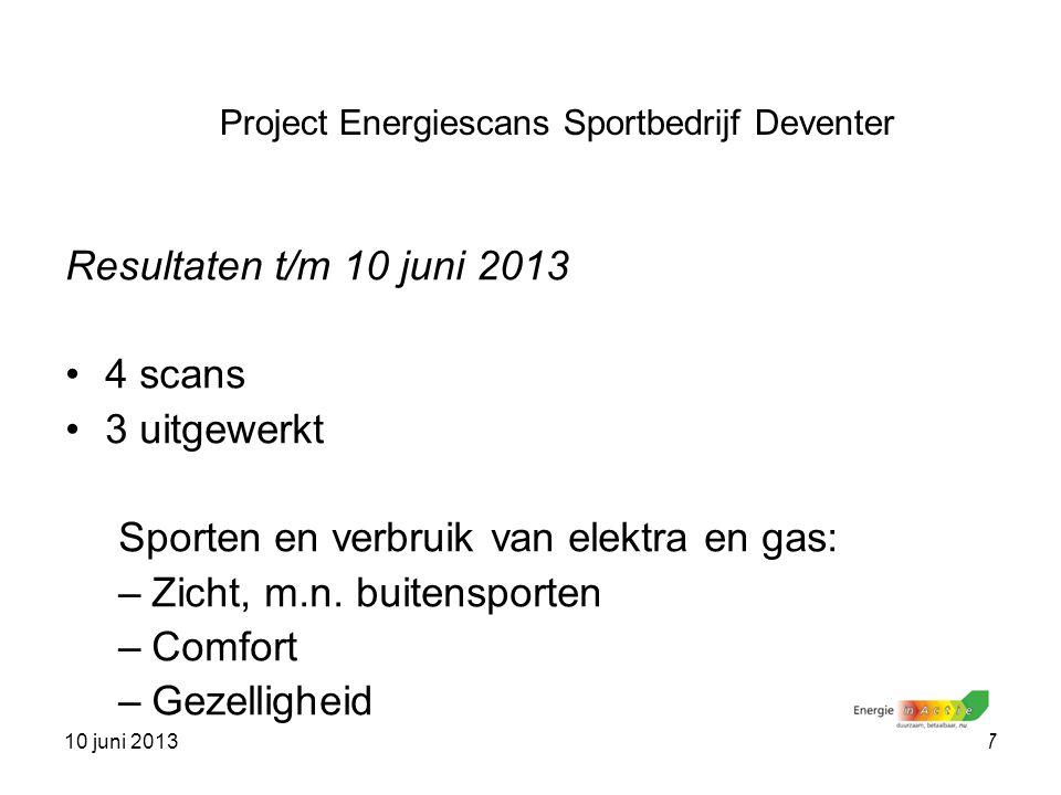 10 juni 20137 Resultaten t/m 10 juni 2013 4 scans 3 uitgewerkt Sporten en verbruik van elektra en gas: –Zicht, m.n. buitensporten –Comfort –Gezellighe
