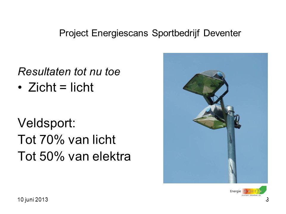 10 juni 20138 Resultaten tot nu toe Zicht = licht Veldsport: Tot 70% van licht Tot 50% van elektra Project Energiescans Sportbedrijf Deventer