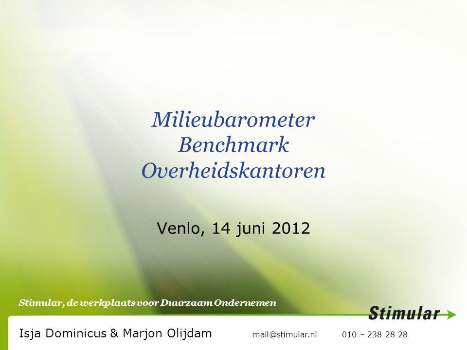Stimular, de werkplaats voor Duurzaam Ondernemen Milieubarometer Benchmark Overheidskantoren Venlo, 14 juni 2012 Isja Dominicus & Marjon Olijdam mail@stimular.nl 010 – 238 28 28
