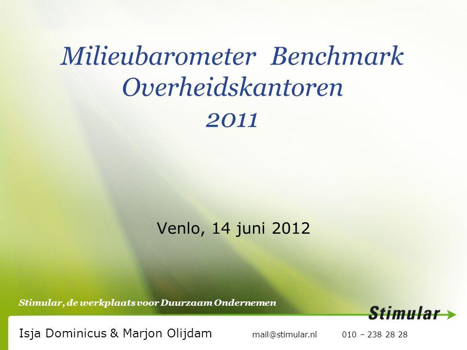 Stimular, de werkplaats voor Duurzaam Ondernemen Milieubarometer Benchmark Overheidskantoren 2011 Isja Dominicus & Marjon Olijdam mail@stimular.nl 010 – 238 28 28 Venlo, 14 juni 2012