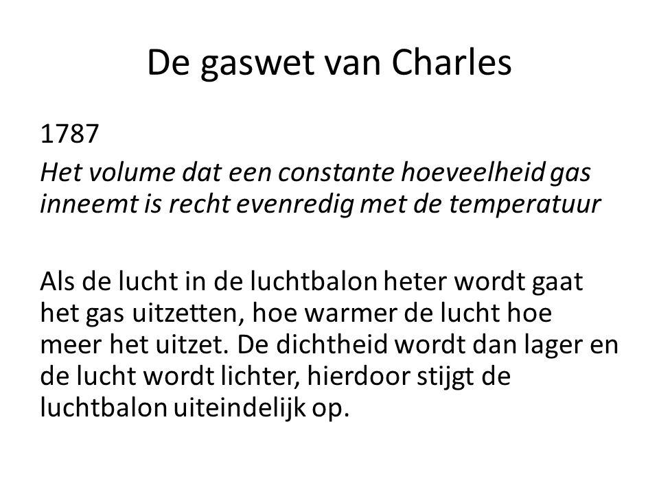 De gaswet van Charles 1787 Het volume dat een constante hoeveelheid gas inneemt is recht evenredig met de temperatuur Als de lucht in de luchtbalon he