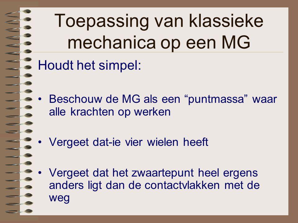 """Toepassing van klassieke mechanica op een MG Houdt het simpel: Beschouw de MG als een """"puntmassa"""" waar alle krachten op werken Vergeet dat-ie vier wie"""