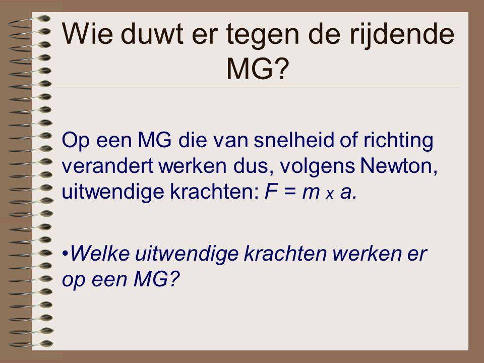 Wie duwt er tegen de rijdende MG? Op een MG die van snelheid of richting verandert werken dus, volgens Newton, uitwendige krachten: F = m x a. Welke u