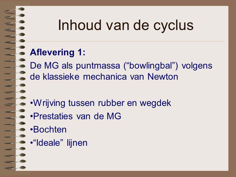 """Inhoud van de cyclus Aflevering 1: De MG als puntmassa (""""bowlingbal"""") volgens de klassieke mechanica van Newton Wrijving tussen rubber en wegdek Prest"""