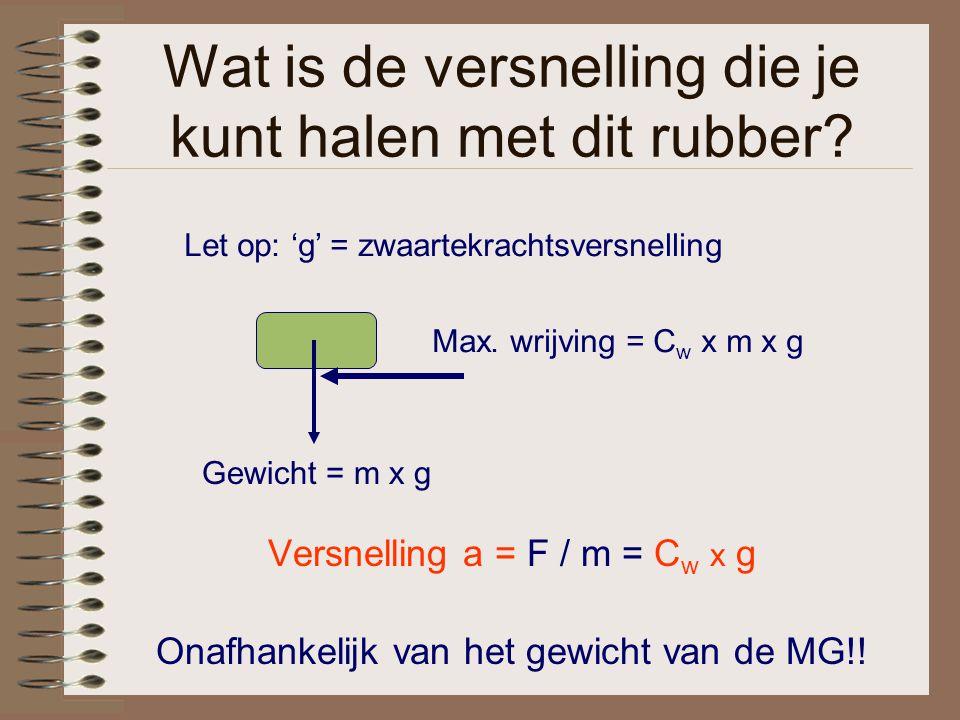 Wat is de versnelling die je kunt halen met dit rubber? Versnelling a = F / m = C w x g Onafhankelijk van het gewicht van de MG!! Let op: 'g' = zwaart