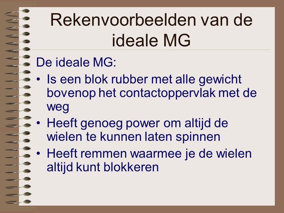 Rekenvoorbeelden van de ideale MG De ideale MG: Is een blok rubber met alle gewicht bovenop het contactoppervlak met de weg Heeft genoeg power om alti