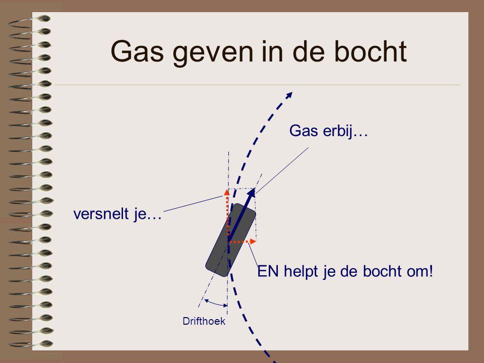 Gas geven in de bocht Gas erbij… EN helpt je de bocht om! versnelt je… Drifthoek