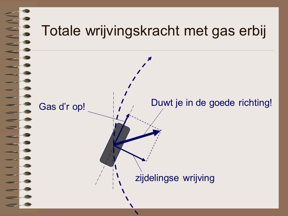 Totale wrijvingskracht met gas erbij Gas d'r op! Duwt je in de goede richting! zijdelingse wrijving