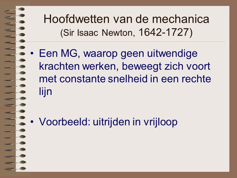 Hoofdwetten van de mechanica (Sir Isaac Newton, 1642-1727) Een MG, waarop geen uitwendige krachten werken, beweegt zich voort met constante snelheid i