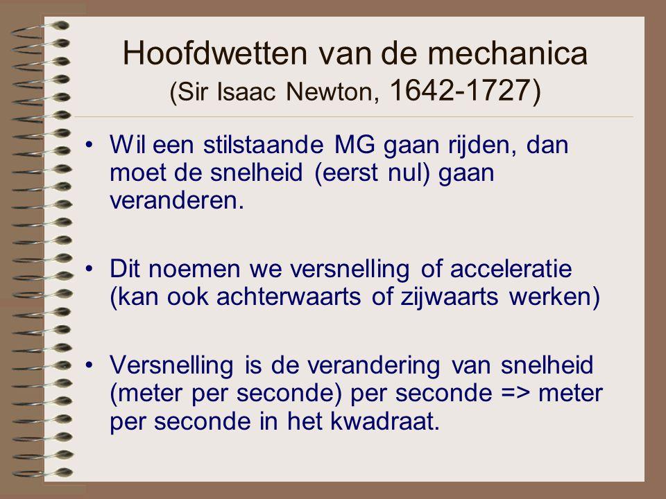 Hoofdwetten van de mechanica (Sir Isaac Newton, 1642-1727) Wil een stilstaande MG gaan rijden, dan moet de snelheid (eerst nul) gaan veranderen. Dit n