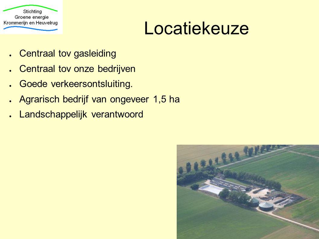 Locatiekeuze ● Centraal tov gasleiding ● Centraal tov onze bedrijven ● Goede verkeersontsluiting. ● Agrarisch bedrijf van ongeveer 1,5 ha ● Landschapp