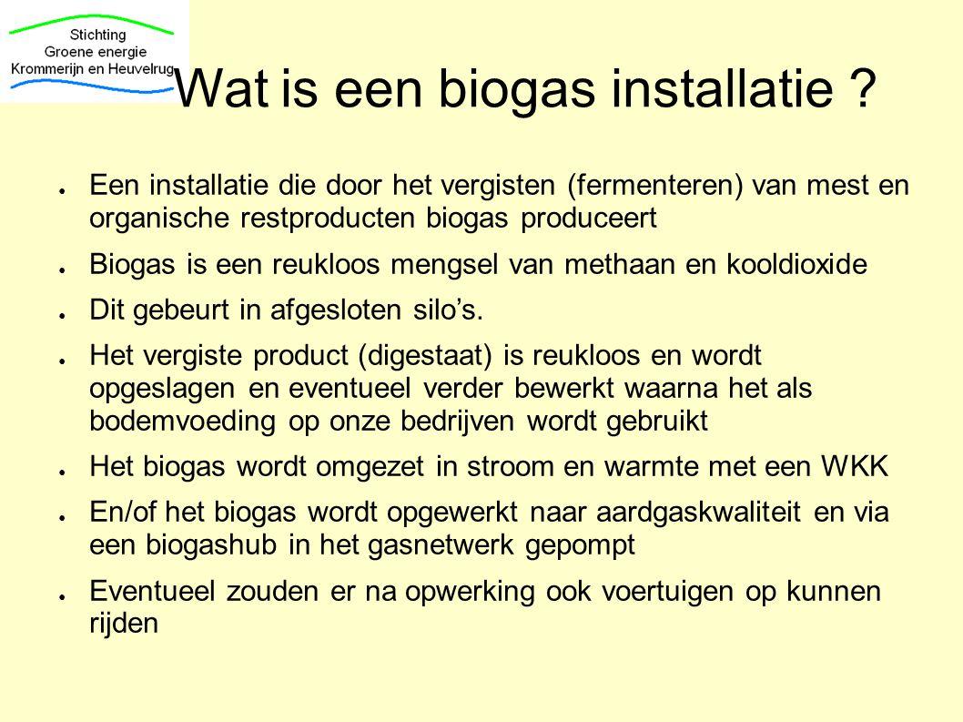 Wat is een biogas installatie ? ● Een installatie die door het vergisten (fermenteren) van mest en organische restproducten biogas produceert ● Biogas
