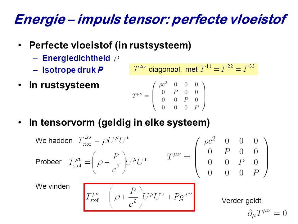 Energie – impuls tensor: perfecte vloeistof Perfecte vloeistof (in rustsysteem) –Energiedichtheid –Isotrope druk P diagonaal, met In rustsysteem In te