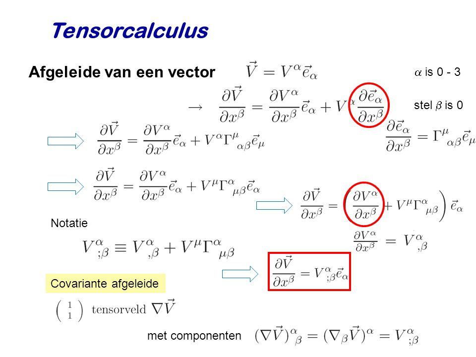 Tensorcalculus Afgeleide van een vector  is 0 - 3 stel  is 0 Notatie Covariante afgeleide met componenten