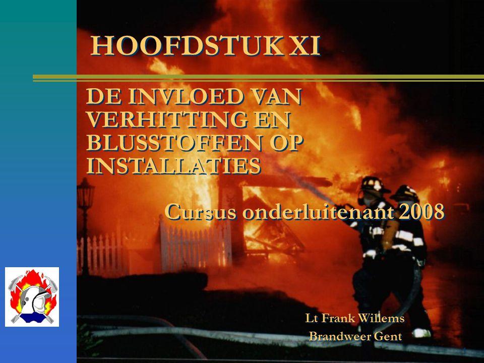 1 Lt Frank Willems Brandweer Gent HOOFDSTUK XI DE INVLOED VAN VERHITTING EN BLUSSTOFFEN OP INSTALLATIES Cursus onderluitenant 2008