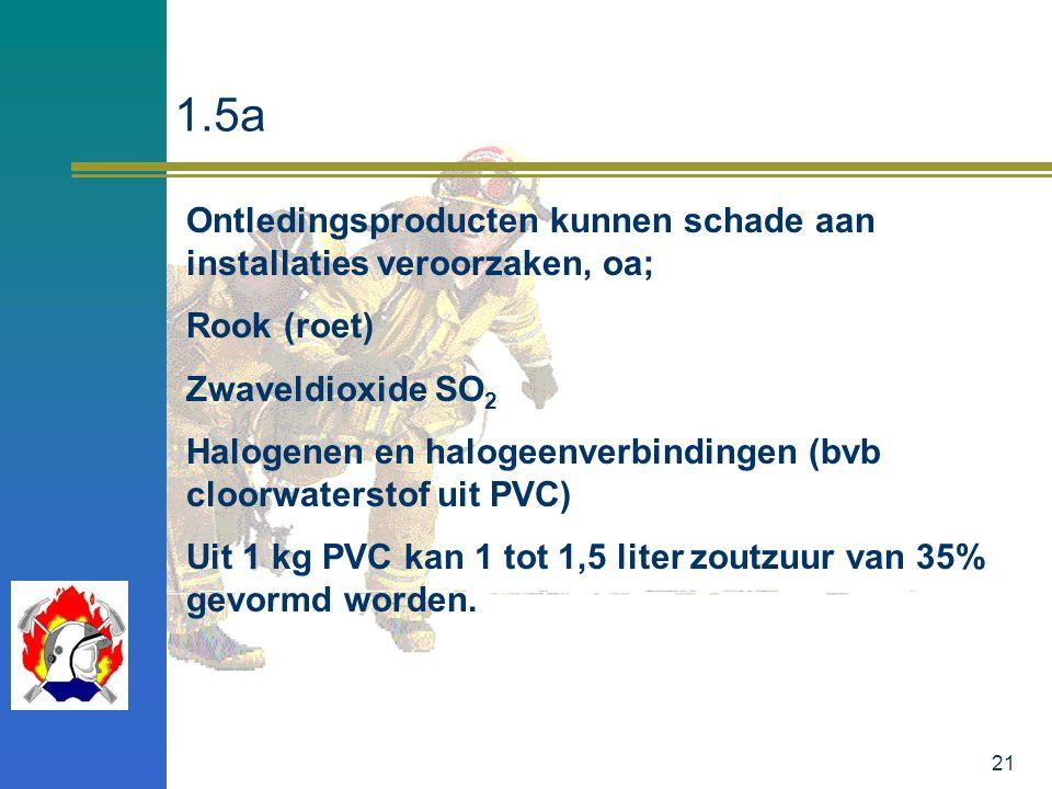 21 1.5a Ontledingsproducten kunnen schade aan installaties veroorzaken, oa; Rook (roet) Zwaveldioxide SO 2 Halogenen en halogeenverbindingen (bvb cloo