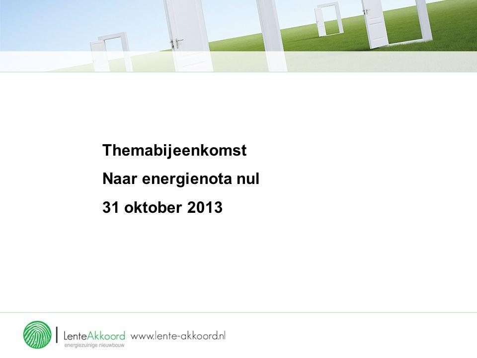 Themabijeenkomst Naar energienota nul 31 oktober 2013