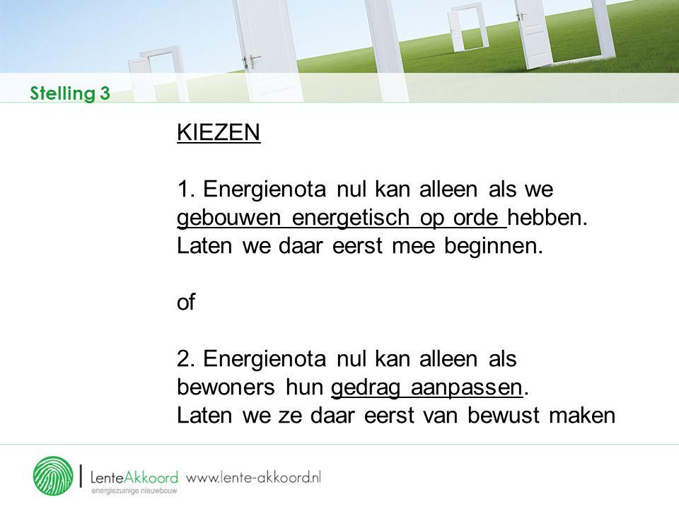 Stelling 3 KIEZEN 1. Energienota nul kan alleen als we gebouwen energetisch op orde hebben. Laten we daar eerst mee beginnen. of 2. Energienota nul ka