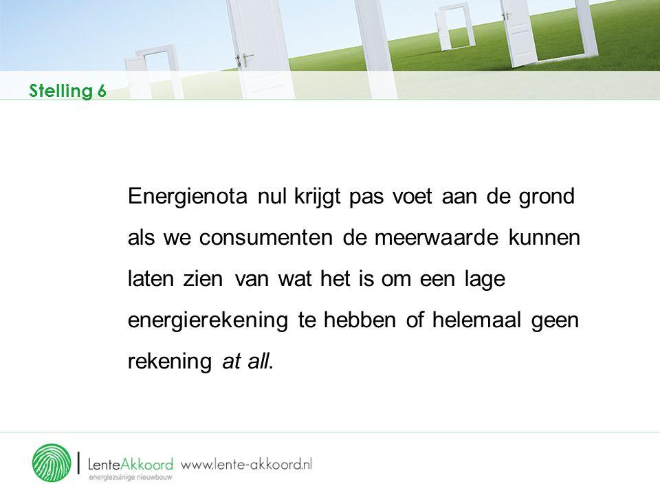 Stelling 6 Energienota nul krijgt pas voet aan de grond als we consumenten de meerwaarde kunnen laten zien van wat het is om een lage energierekening
