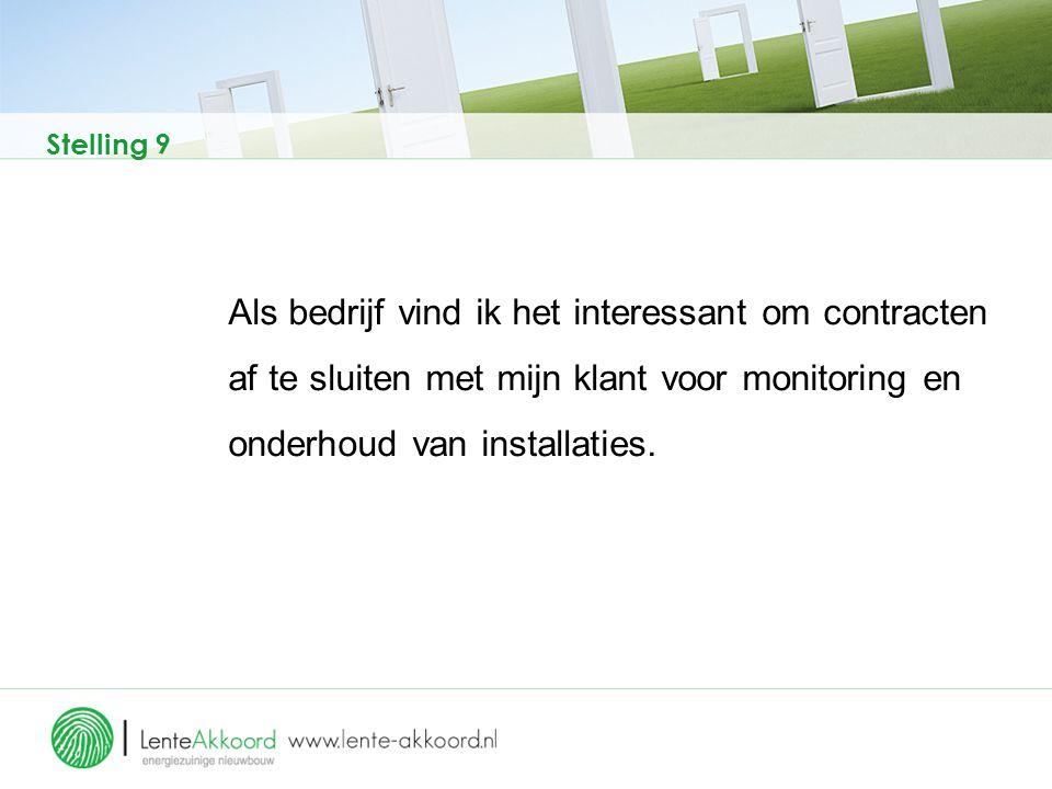 Stelling 9 Als bedrijf vind ik het interessant om contracten af te sluiten met mijn klant voor monitoring en onderhoud van installaties.