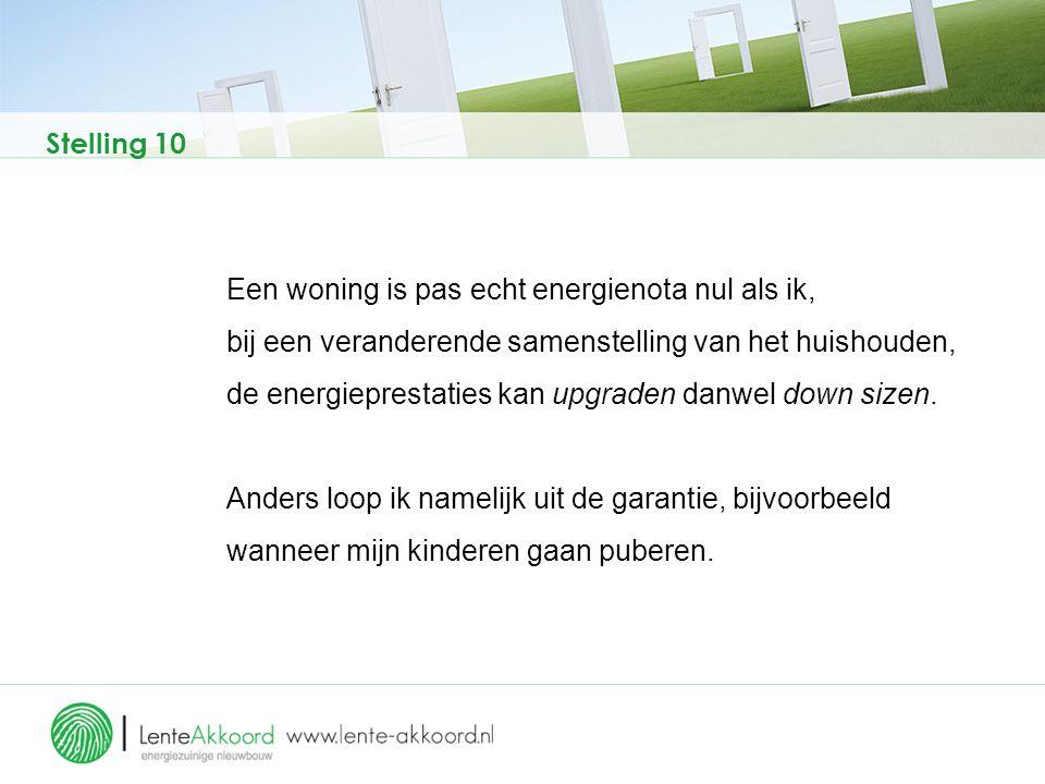 Stelling 10 Een woning is pas echt energienota nul als ik, bij een veranderende samenstelling van het huishouden, de energieprestaties kan upgraden da