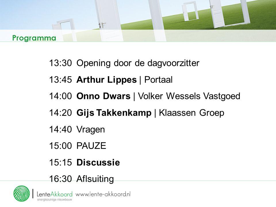 Programma 13:30Opening door de dagvoorzitter 13:45Arthur Lippes | Portaal 14:00Onno Dwars | Volker Wessels Vastgoed 14:20 Gijs Takkenkamp | Klaassen G