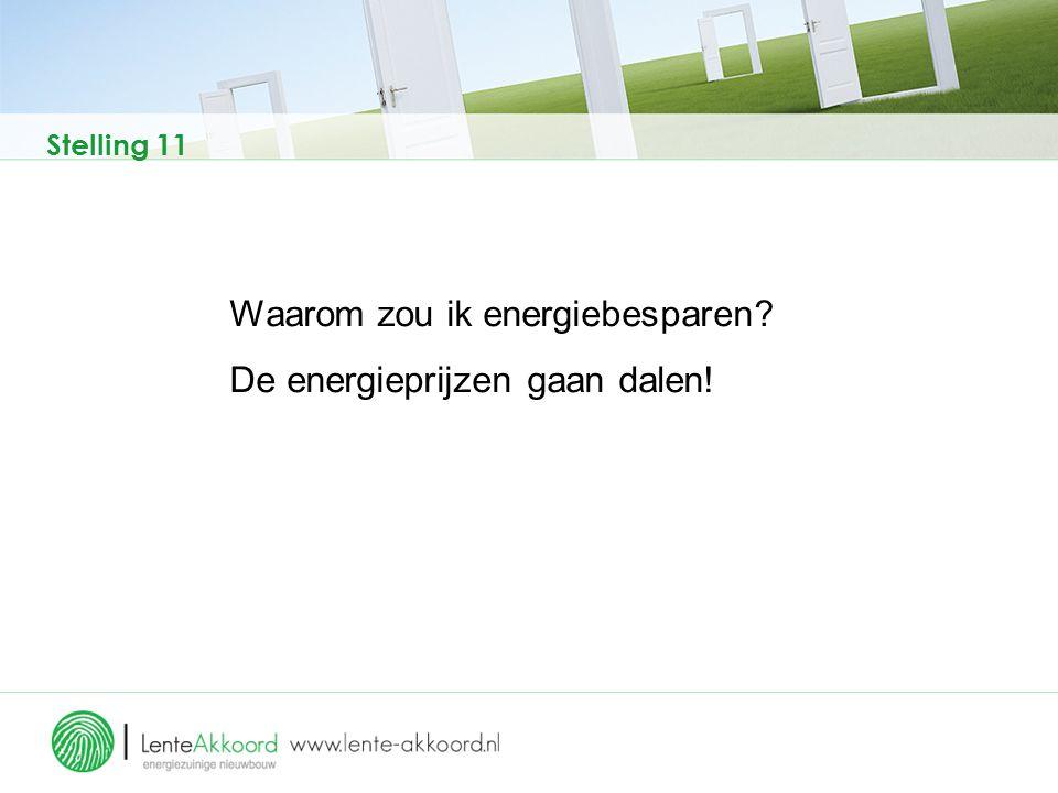 Stelling 11 Waarom zou ik energiebesparen? De energieprijzen gaan dalen!