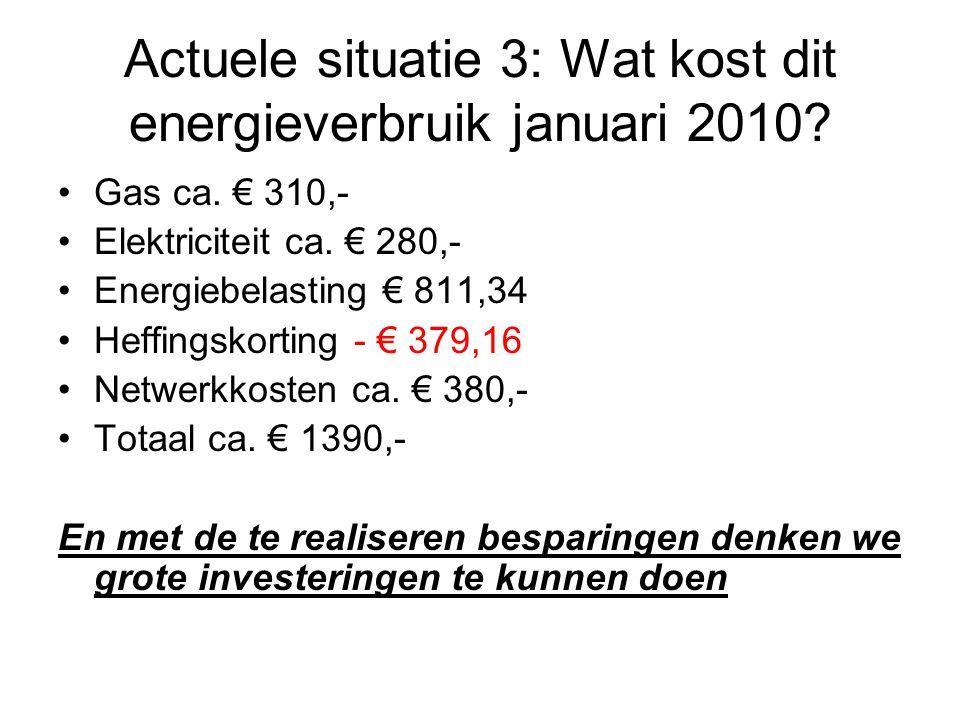 Actuele situatie 3: Wat kost dit energieverbruik januari 2010? Gas ca. € 310,- Elektriciteit ca. € 280,- Energiebelasting € 811,34 Heffingskorting - €