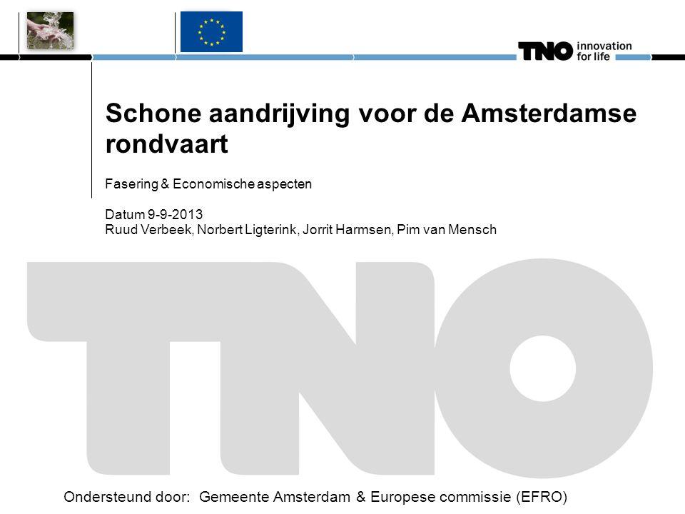 Schone aandrijving voor de Amsterdamse rondvaart Fasering & Economische aspecten Datum 9-9-2013 Ruud Verbeek, Norbert Ligterink, Jorrit Harmsen, Pim v
