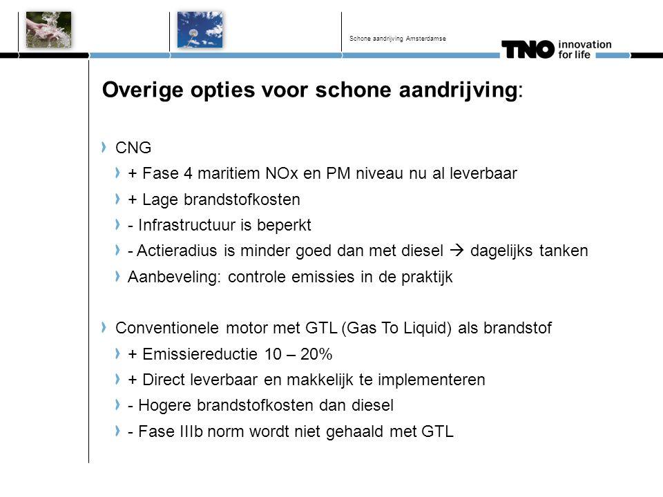 Overige opties voor schone aandrijving: CNG + Fase 4 maritiem NOx en PM niveau nu al leverbaar + Lage brandstofkosten - Infrastructuur is beperkt - Ac