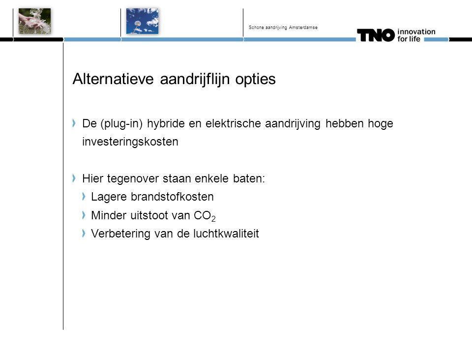 Alternatieve aandrijflijn opties De (plug-in) hybride en elektrische aandrijving hebben hoge investeringskosten Hier tegenover staan enkele baten: Lag