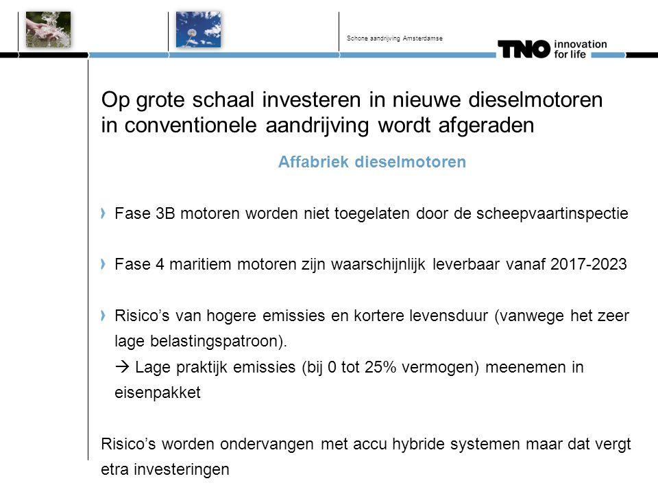 Op grote schaal investeren in nieuwe dieselmotoren in conventionele aandrijving wordt afgeraden Affabriek dieselmotoren Fase 3B motoren worden niet to