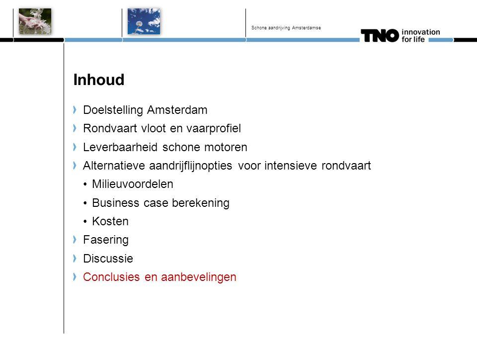 Inhoud Doelstelling Amsterdam Rondvaart vloot en vaarprofiel Leverbaarheid schone motoren Alternatieve aandrijflijnopties voor intensieve rondvaart Mi