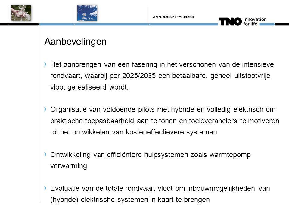 Aanbevelingen Het aanbrengen van een fasering in het verschonen van de intensieve rondvaart, waarbij per 2025/2035 een betaalbare, geheel uitstootvrij