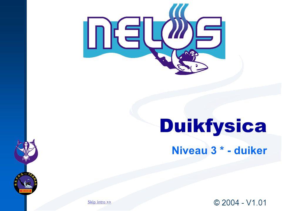 © 2004 - V1.01Fysica - 3*Duiker12 Waterdruk op diepte Relatieve druk = Waterdruk = Hydrostatische druk diepte (m) vuistregel : waterdruk op diepte (bar) : 10 Relatieve druk = Waterdruk = Hydrostatische druk diepte (m) vuistregel : waterdruk op diepte (bar) : 10