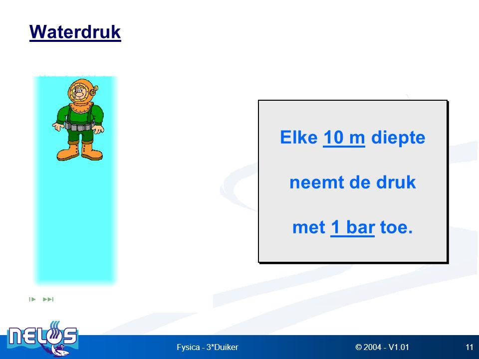 © 2004 - V1.01Fysica - 3*Duiker11 Waterdruk Elke 10 m diepte neemt de druk met 1 bar toe. Elke 10 m diepte neemt de druk met 1 bar toe.