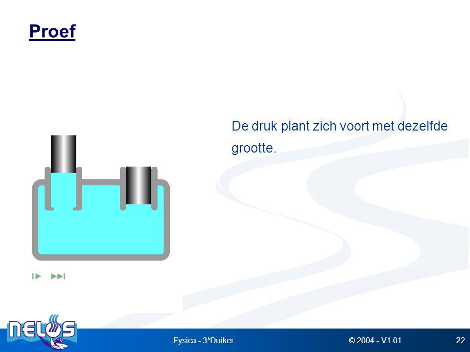 © 2004 - V1.01Fysica - 3*Duiker22 Proef De druk plant zich voort met dezelfde grootte.