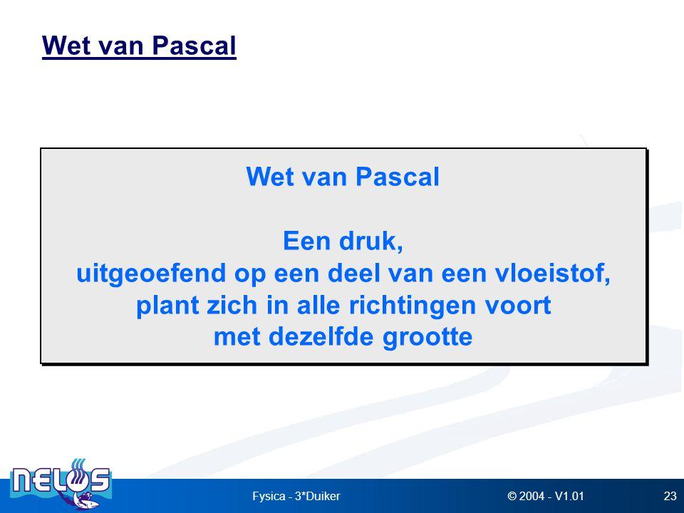 © 2004 - V1.01Fysica - 3*Duiker23 Wet van Pascal Een druk, uitgeoefend op een deel van een vloeistof, plant zich in alle richtingen voort met dezelfde