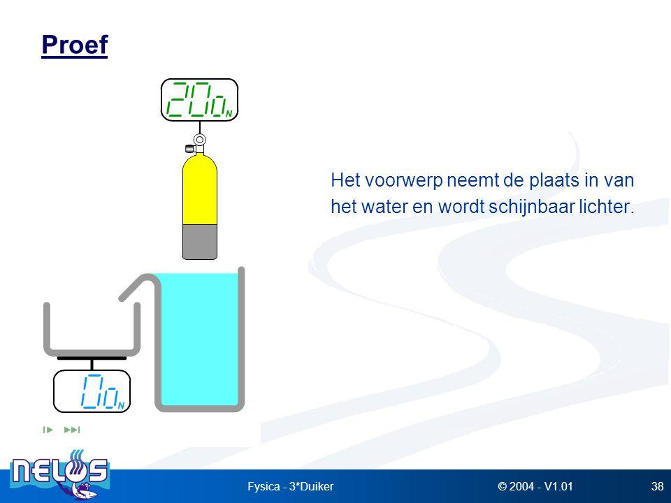 © 2004 - V1.01Fysica - 3*Duiker38 Proef Het voorwerp neemt de plaats in van het water en wordt schijnbaar lichter.