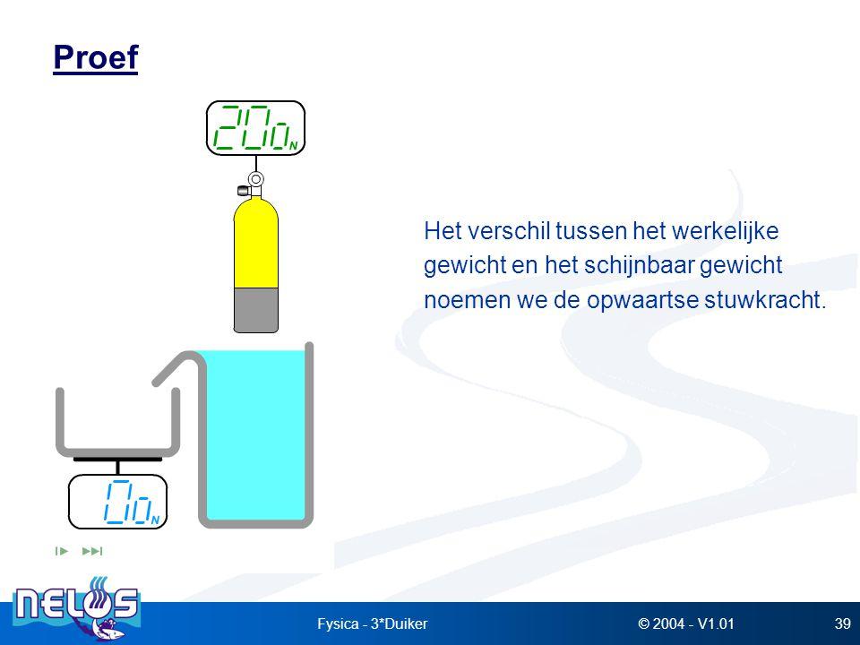 © 2004 - V1.01Fysica - 3*Duiker39 Proef Het verschil tussen het werkelijke gewicht en het schijnbaar gewicht noemen we de opwaartse stuwkracht.