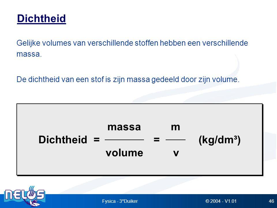 © 2004 - V1.01Fysica - 3*Duiker46 Dichtheid Gelijke volumes van verschillende stoffen hebben een verschillende massa. De dichtheid van een stof is zij