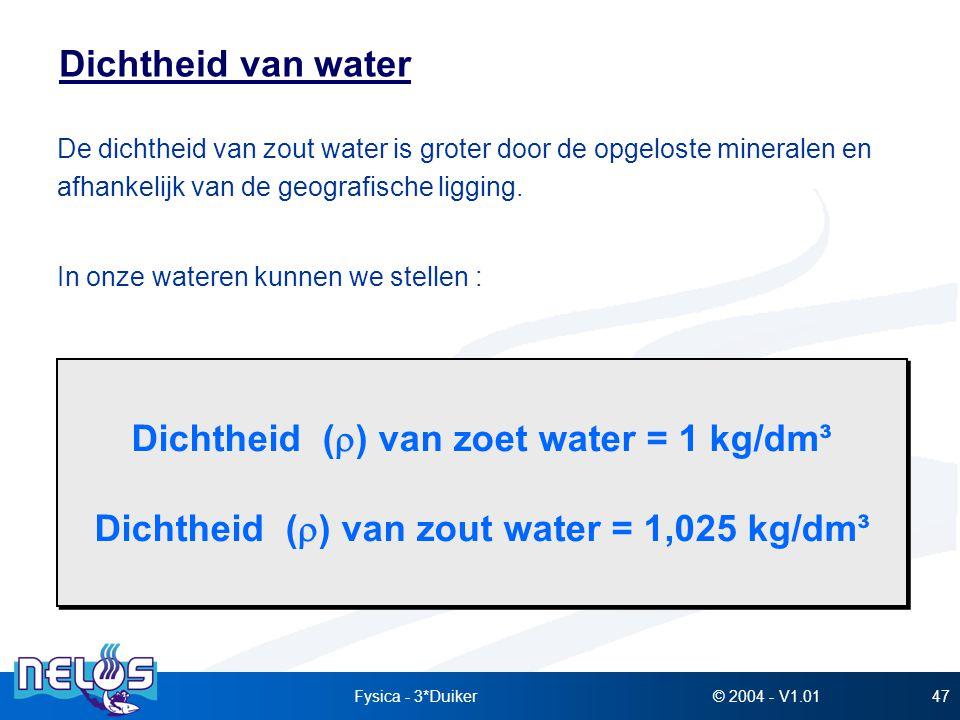 © 2004 - V1.01Fysica - 3*Duiker47 Dichtheid van water De dichtheid van zout water is groter door de opgeloste mineralen en afhankelijk van de geografi