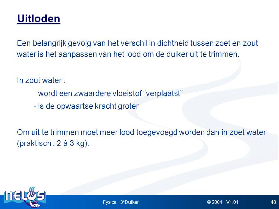 © 2004 - V1.01Fysica - 3*Duiker48 Uitloden Een belangrijk gevolg van het verschil in dichtheid tussen zoet en zout water is het aanpassen van het lood