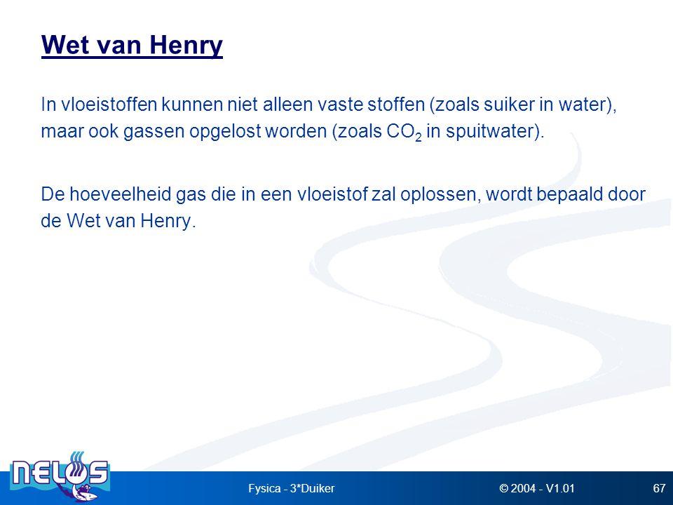 © 2004 - V1.01Fysica - 3*Duiker67 Wet van Henry In vloeistoffen kunnen niet alleen vaste stoffen (zoals suiker in water), maar ook gassen opgelost wor