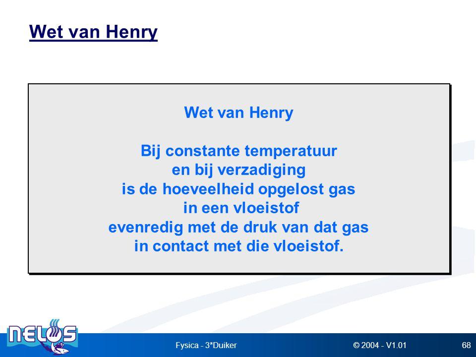 © 2004 - V1.01Fysica - 3*Duiker68 Wet van Henry Bij constante temperatuur en bij verzadiging is de hoeveelheid opgelost gas in een vloeistof evenredig