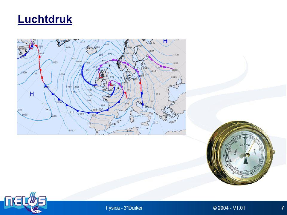 © 2004 - V1.01Fysica - 3*Duiker68 Wet van Henry Bij constante temperatuur en bij verzadiging is de hoeveelheid opgelost gas in een vloeistof evenredig met de druk van dat gas in contact met die vloeistof.