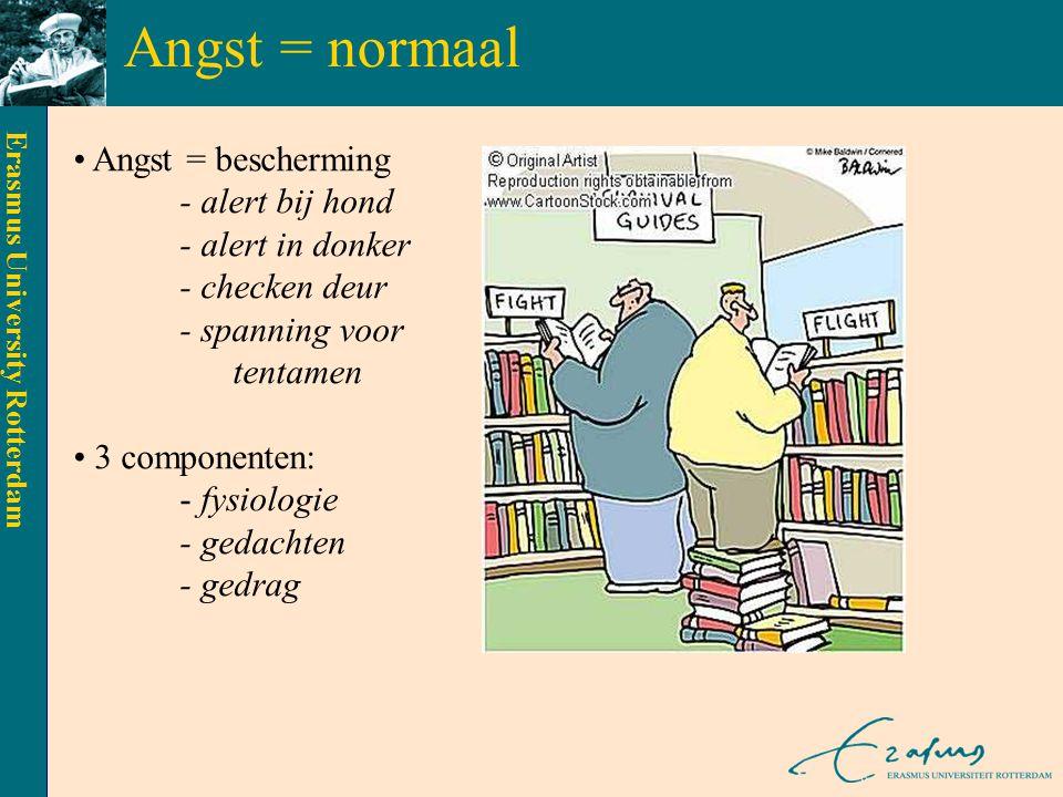 Erasmus University Rotterdam Agorafobie angst voor plaatsen/ situaties waaruit > ontsnappen moeilijk is of > waarin geen hulp beschikbaar is ingeval van een paniekaanval situaties vermeden of doorstaan met intense angst